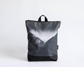 """Black waterproof backpack, Printed """"Mountains"""" design, Printed laptop backpack"""