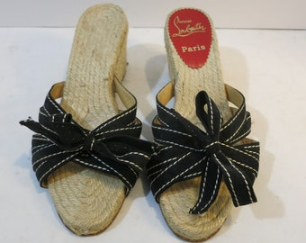 Vintage espadrilles Red sole Black canvas French
