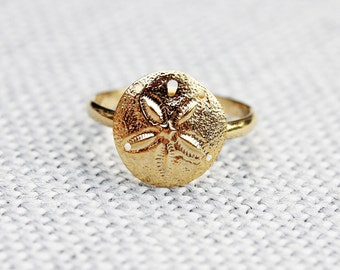 Sand Dollar Ring, Gold Sand Dollar Ring, Gold Beach Ring, Adjustable Gold Ring, Vintage Gold Ring, Nautical Gold Ring