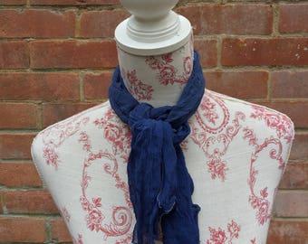 Deep blue vintage scarf and necktie