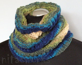 Infinity Scarf Blue Turquoise Azure Beige Green Circle Scarf Cowl Wrap