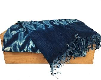 "Vintage Indigo African Mud Cloth Shibori Mudcloth Throw or Table Runner 34x78'"" Shibori Fabric"