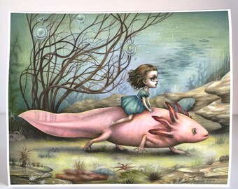 The Axolotl Rider -  pop surrealism - 11x14 Fine Art Print by Mab Graves