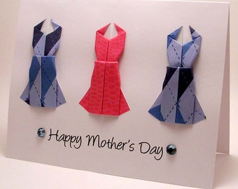 Origami Dress Mother's Day Card (blue pink)