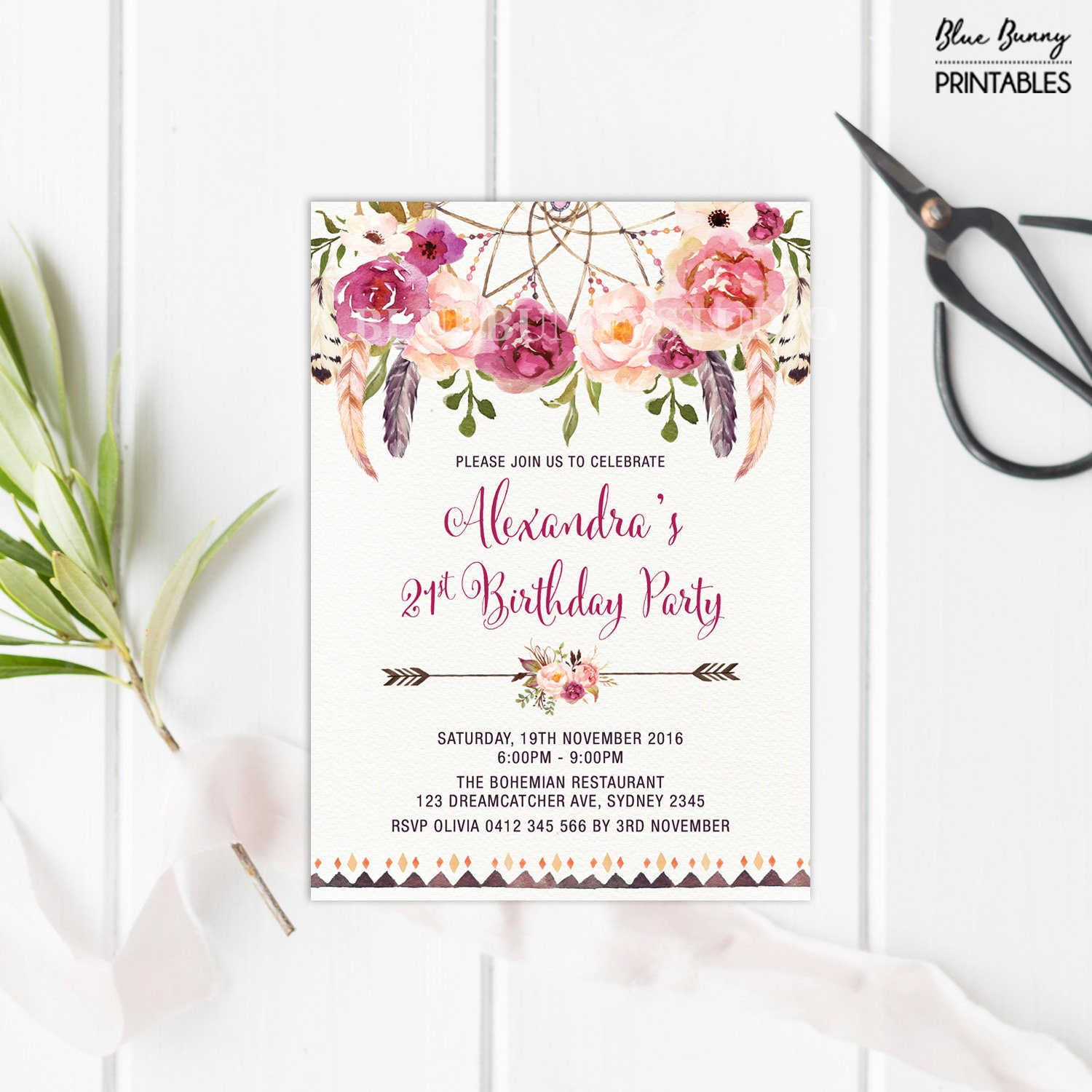 Bohemian 21st Birthday Invitation. ALL AGES. Boho Floral