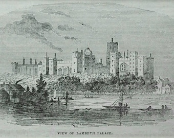 Lambeth Palace calm river art antique english print landscape black and white mounted antique victorian book art