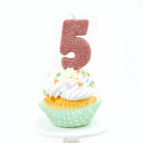 """3"""" Number 5 Candle, Giant 5 Candle, Giant 5 Candle, Fifth Birthday, Rose Gold Candle, Gold Birthday Candle, Large Gold Candle"""