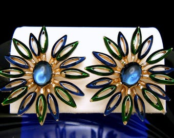 Vintage Crown Trifari Starburst Earrings Blue Green Enamel Glass Cabochon