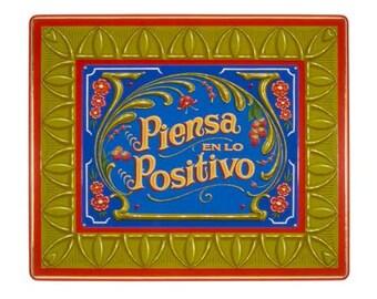 Piensa en lo Positivo - Poster - Sign painting, fileteado, flowers, raspberries