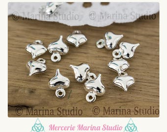 20 silver heart charms shiny Ms06221 8x6mm