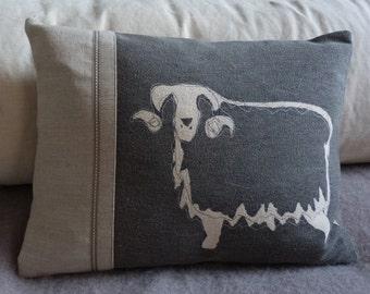 Hand printed linen charcoal sheep cushion
