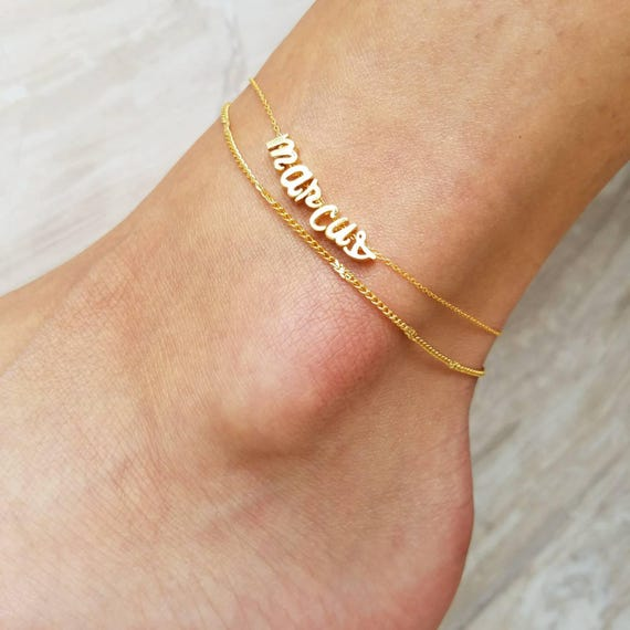 gold foot feet bracelet charm ankle pin jewelry anklet initial custom letter personalized