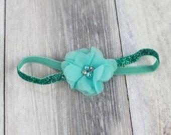 Aqua Vintage Tulle Flower Headband Photo Prop