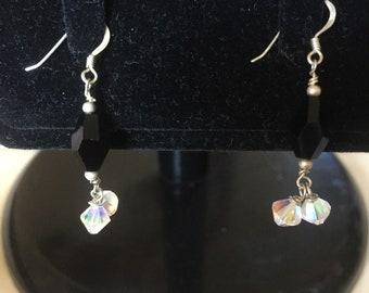 Black & 2x crystal swaroski sterling silver earring