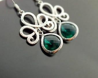Emerald Dangle Earrings with Silver Lotus Flower Silver Lotus Swirl Drop Earrings, Emerald Green Bridesmaid Earrings, Bohemian Earrings