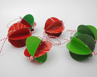 colorful paper ornaments - set of 6- made from recycled magazines, red, green, holiday gift, unique, decoration, design, round,modern,color
