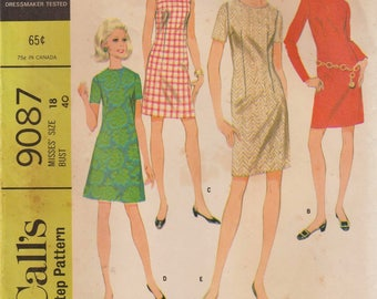 McCalls 9087 / Vintage 1960s Sewing Pattern / Dress / Size 18 Bust 40