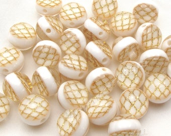 6 white gold and transparent acrylic bead 16mm in size