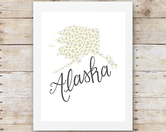 Alaska State Flower - Alaska State Map - Illustration Map - Forget me nots - Wall Decor - Floral Illustration - Art Print - Shabby Chic