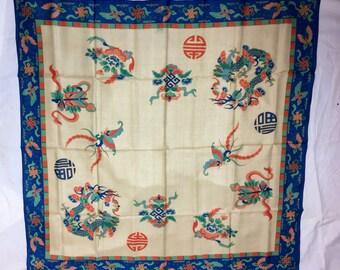 Vintage 1920s Chinese Butterfly Beige Blue Green Orange Silk Scarf