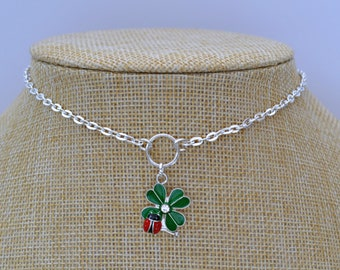"""CLOVER 4 LEAF Ladybug O Ring Charm Necklace, Silver Plated Chain 16"""" 18"""" 20"""""""
