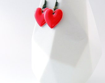 Red Heart Earrings -- Enamel Drop Charms -- Valentine's Day Gift -- UK Shop