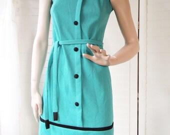 1960s blue mod mini dress small