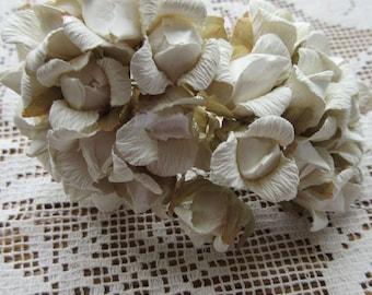 Paper Flowers 48 Ivory Millinery Flower Rose Buds ~ 4 Bundles