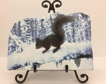 Winter Squirrel Handmade Flagstone