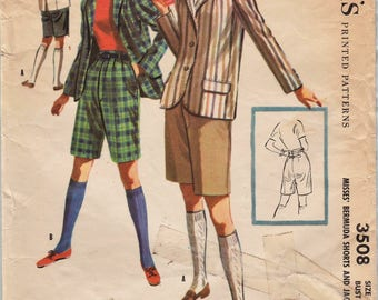McCalls 3508 / Vintage 1950s Sewing Pattern / Bermuda Shorts And Blazer / Size 16 Bust 34