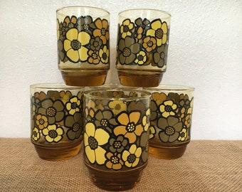 Mod Daisy Flower Vintage Glasses Set of 6 Large Amber Tumblers