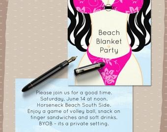 Beach Party Invitation, Bikinis, Graduation Party, Birthday Party, Swimsuit Party, Beach Blanket Party, Custom Flat Card Invitations