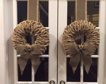 Burlap Wreaths -Pair of beige burlap with black chevron bow - beautiful wreath for double doors