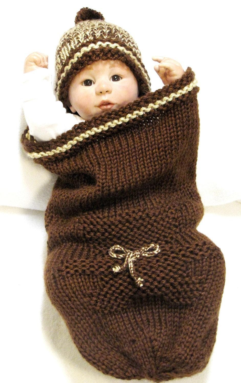 TEDDY BEAR Baby Cocoon Knitting Pattern & Beanie - Free Pod Pattern ...