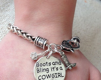 Boots and bling bracelet, western bracelet, cowgirl