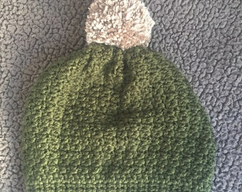 Hand Crochet Slouchy Pom Pom Hat, Slouchy Beanie w/ Pom Pom, Slouchy Crochet Hat, Crocheted Beanie Pom