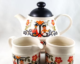 MId Century Brown Betty Sadler TeaPot and Cream and Sugar Set