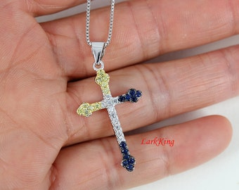 Sterling silver cross necklace, cross necklace, girls cross, silver necklace, girls cross necklace, mens cross necklace, cross gifts, NE8249