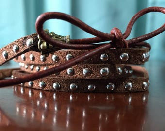 Metalic brown studded leather multiwrap bracelet -or choker! Super adjustable, and so comfortable to wear!