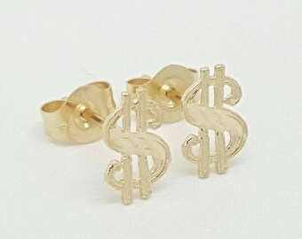 14k Solid gold dollar sign stud earrings