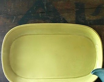 Russel Wright Oval Serving Platter, Chartreuse by Steubenville Pottery
