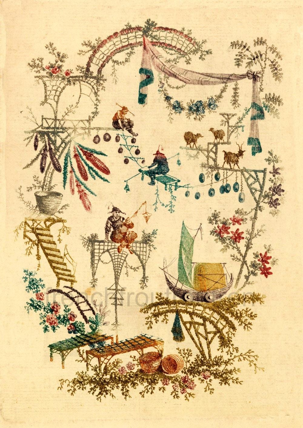 antique chinoiserie wallpaper acrobats illustration digital