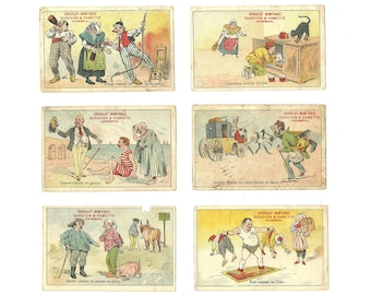 6 French Ad Chromo, Chocolat Duroyon & Ramette, Funny Illustration, Proverb Saying, Caricature Cartoon, Collectible Comic Trading Card