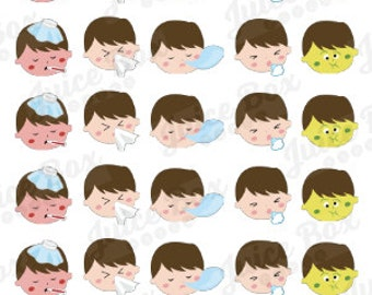 Set of 30 Sick Little Boy Stickers for Various Planners, Calendars, and Journals
