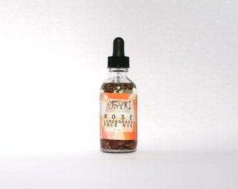 rose lemongrass cleansing oil for oily skin ~ 2 oz \ face cleansing oil \ makeup remover oil \ oily skin cleanser \ organic face serum