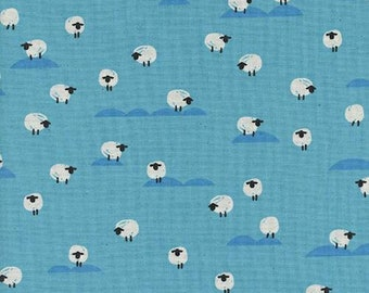 Cotton + Steel Panorama Ocean - Sheep in Water - Blue Sheep Fabric - Farm Animal Fabric - Unbleached Quilting Cotton - By the Yard