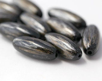 Acrylic Beads Black Gold Silver Washed Wash Oval 32mm (10)