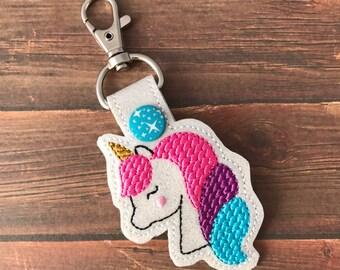 Unicorn, Keychain, Key Fob, Snap Tab, Luggage Tag, Zipper pull, Bag Tags, Backpack, Purses