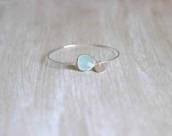 Silver bracelet freshwater large blue stone