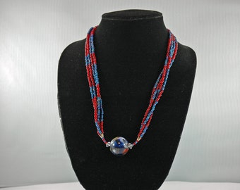 Blue and Red Beaded Necklace with Center Stone